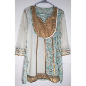 Tops - Indian Tunic Green Gold bejeweled Top